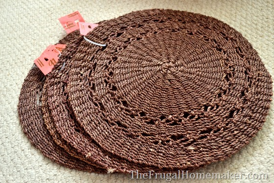 brown placemats