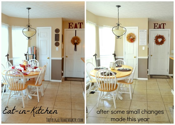 Some new kitchen art a little bit of fall decorating for Small eat in kitchen decorating ideas