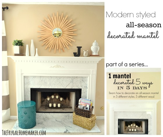 Modern styled all season decorated mantel