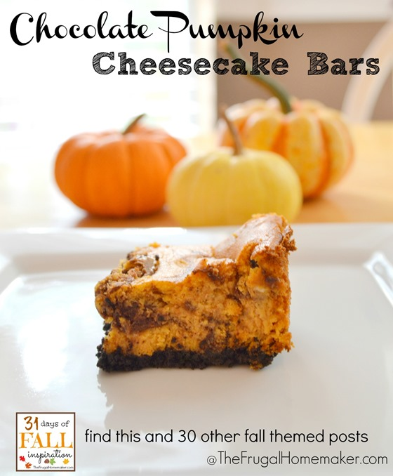 31 Days of Fall Inspiration: Chocolate Pumpkin Cheesecake Bars
