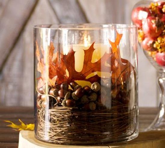 acorns in vase