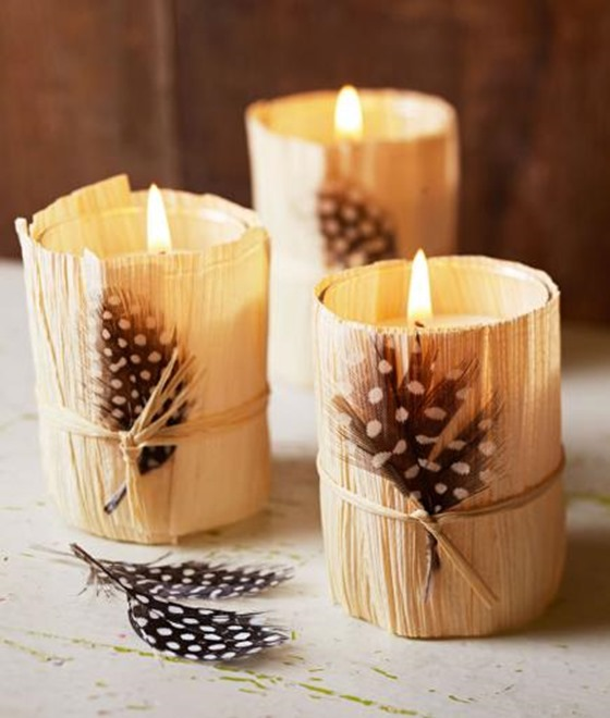 corn husk wrapped votives