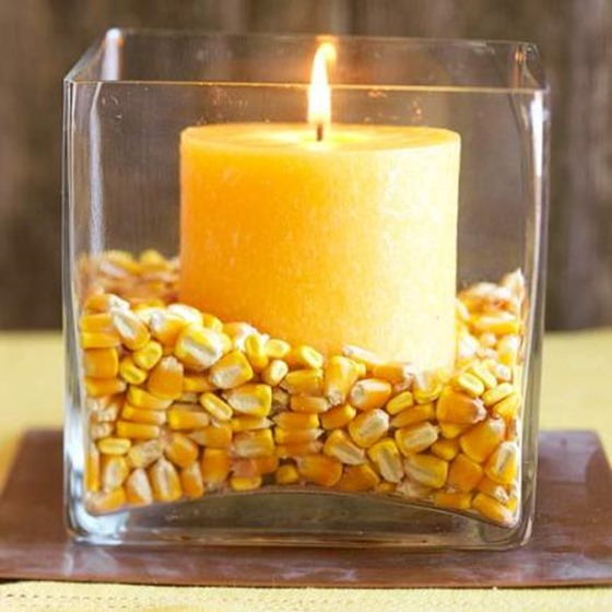 dried corn in candle holder