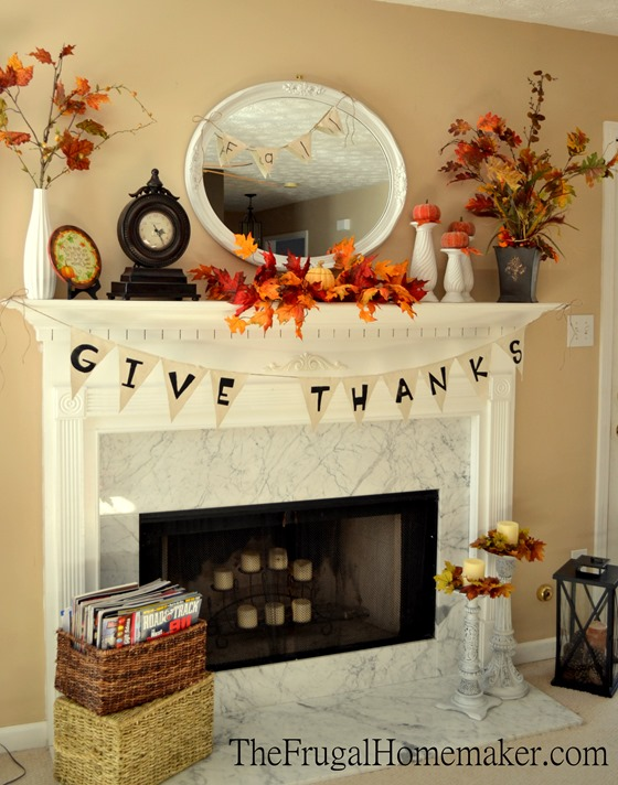 fall mantel with Give Thanks banner