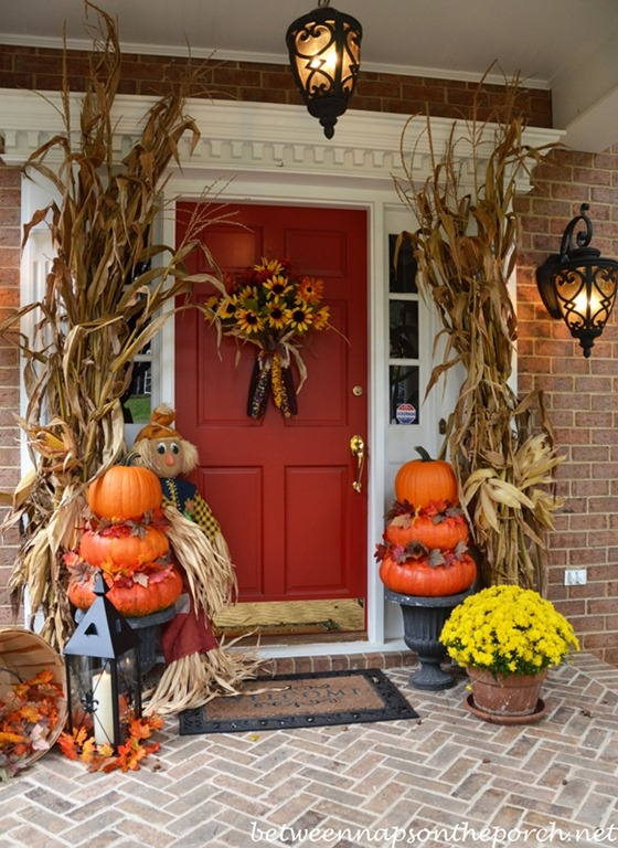 fall porch topiaries