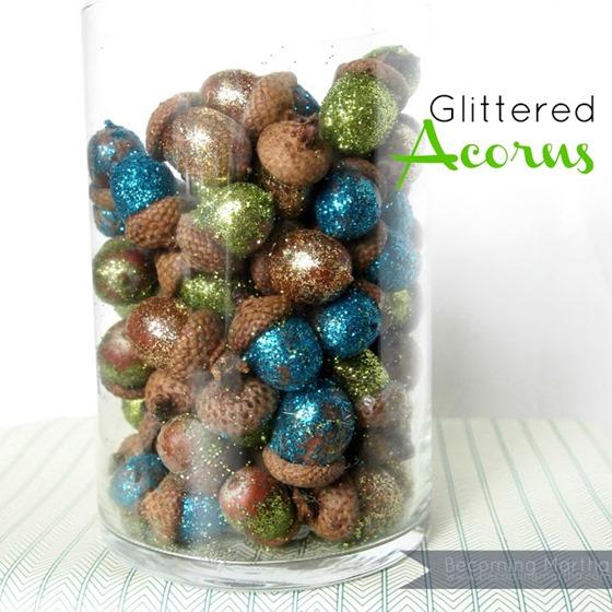 glittered acorns