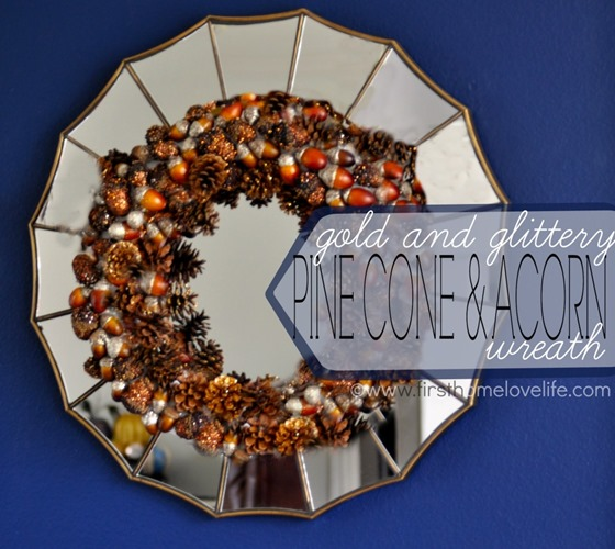 gold and glittered acorn and pinecone wreath