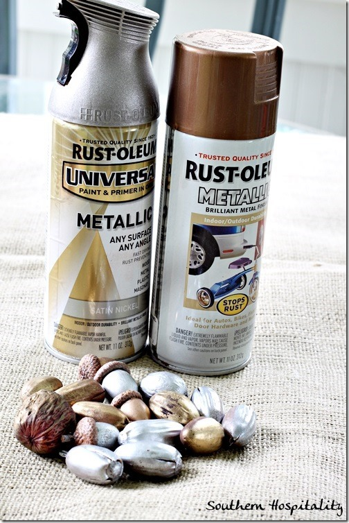 metallic-spray-paint-for-acorns