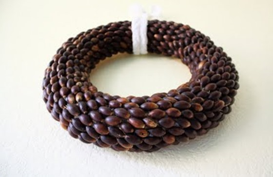natural acorn wreath