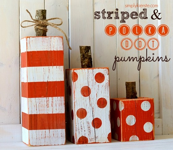 polka dot wood pumpkins