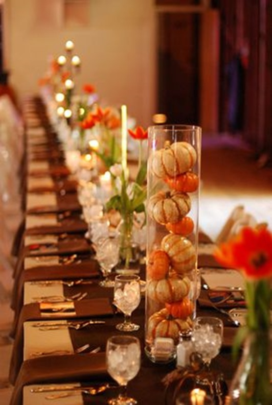 pumpkins in glass centerpieces