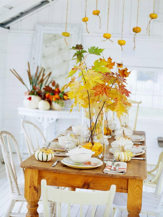 pumpkins on tables