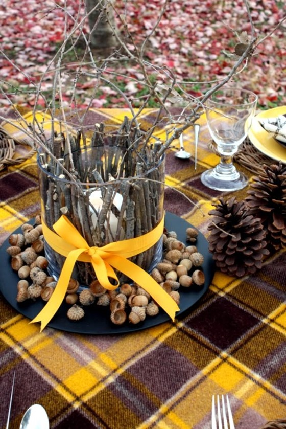 stick candle centerpiece