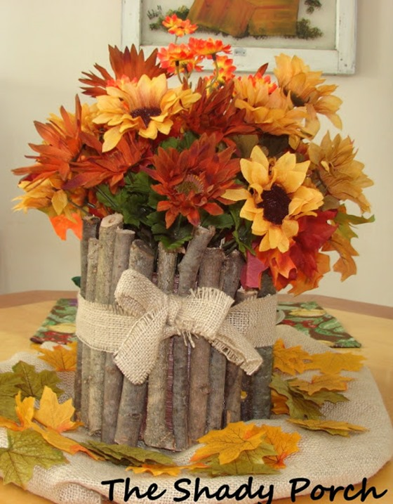 twig and mum centerpiece