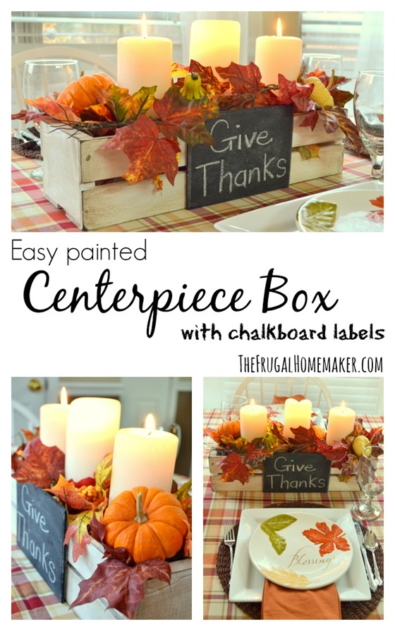 Easy painted Centerpiece Box with chalkboard labels (no tools required!)