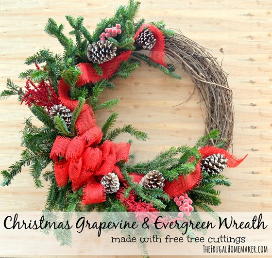 Christmas grapevine and evergreen wreath
