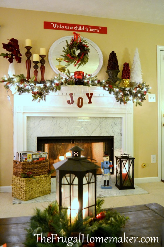 burgundy Christmas mantel
