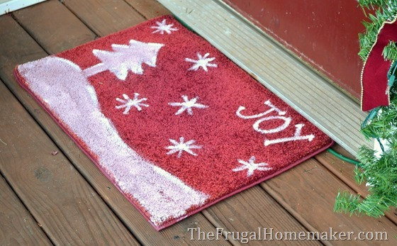 Easy painted Christmas door mat