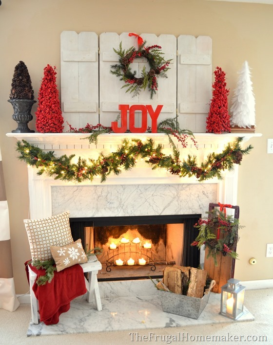 Red and joyful christmas mantel with natural elements for Indoor window christmas decorations
