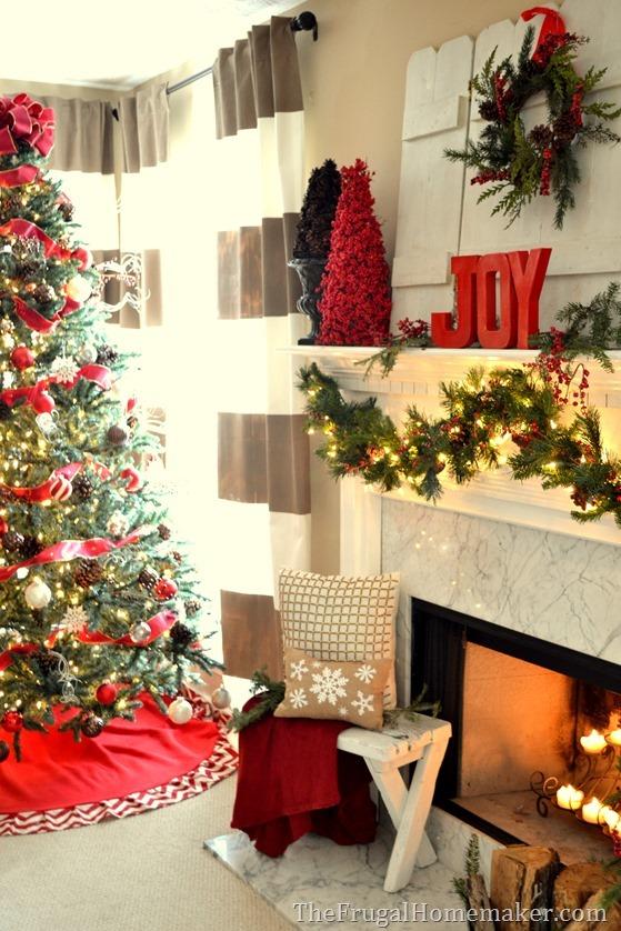Red and JOYful Christmas mantel