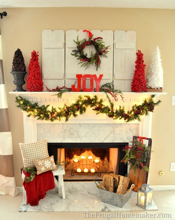 Red and JOYful Christmas mantel with natural elements