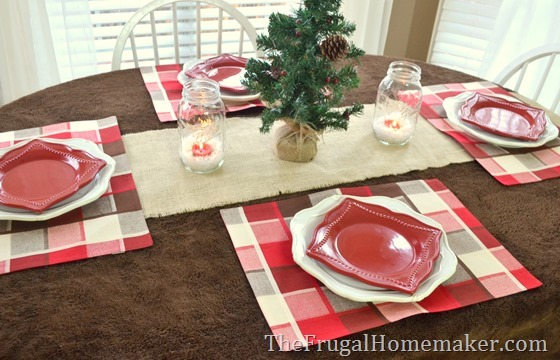 setting a holiday table with holiday items from Dollar General