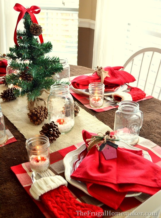 Natural and woodsy themed Dollar General Christmas tablescape