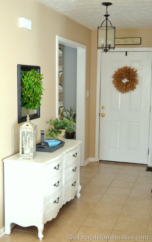 entry way after adding yard sale dresser