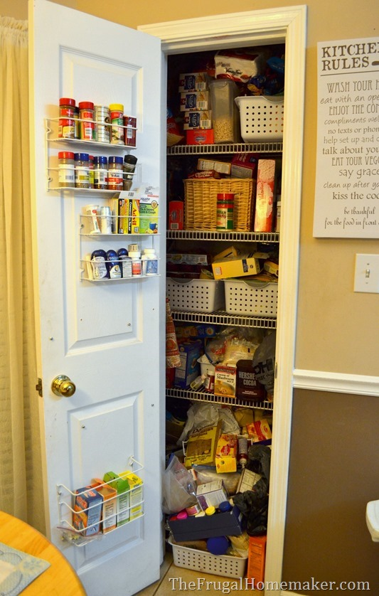 messy pantry before