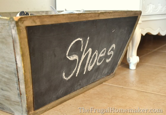 8.  Put a bin or basket for shoes by the door.