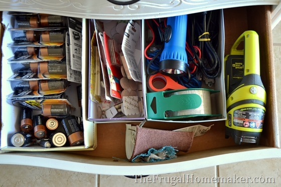 organize household items in shoeboxes