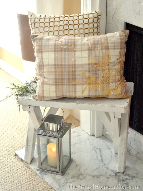 placemat pillow on yard sale bench on hearth