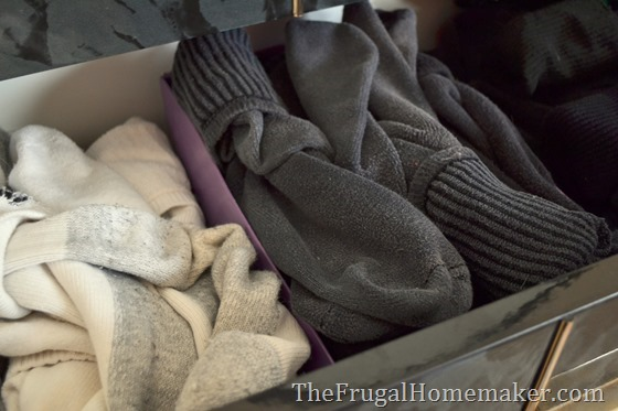 organize socks in shoeboxes