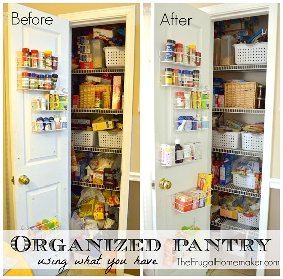 Organized pantry before + after