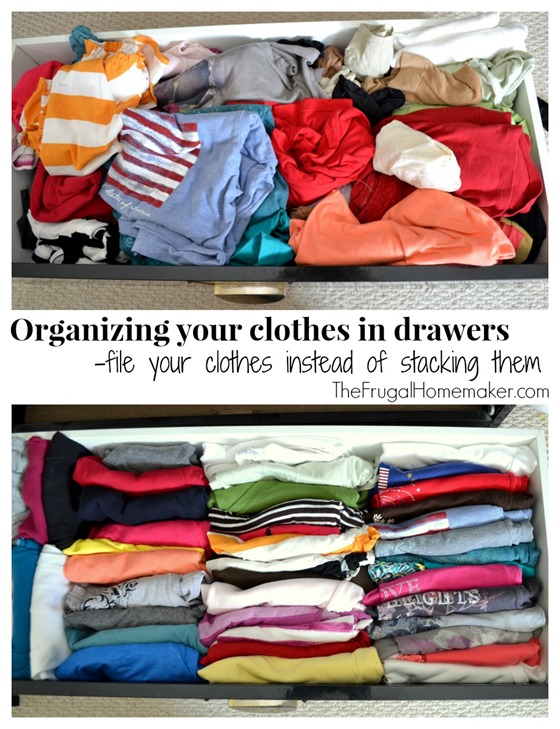 Organizing your clothes in drawers by filing them instead of stacking them