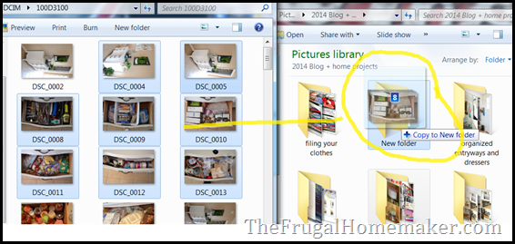 drag pictures into folders
