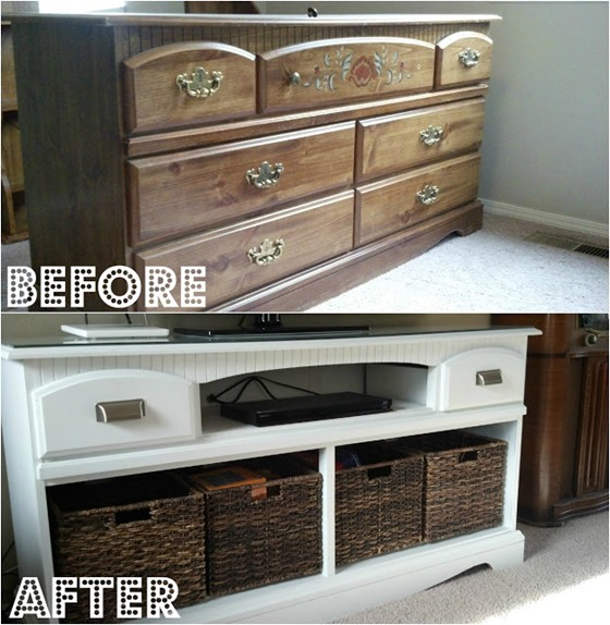 dresser turned entertainment system