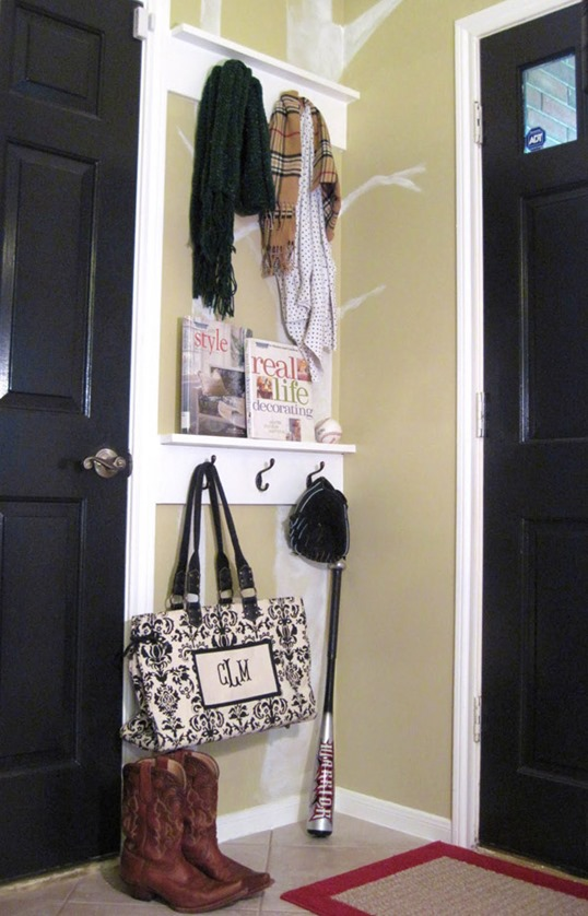"11. Create a ""mudroom"" or entryway organizer to organize bags, coats, scarves."