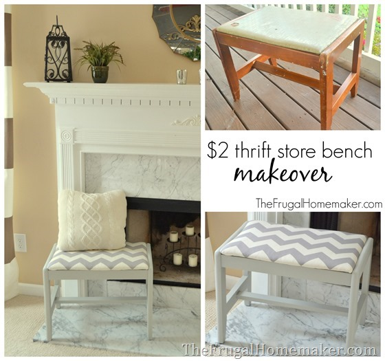 $2 Thrift Store Bench Makeover (Gray and White Chevron Bench)