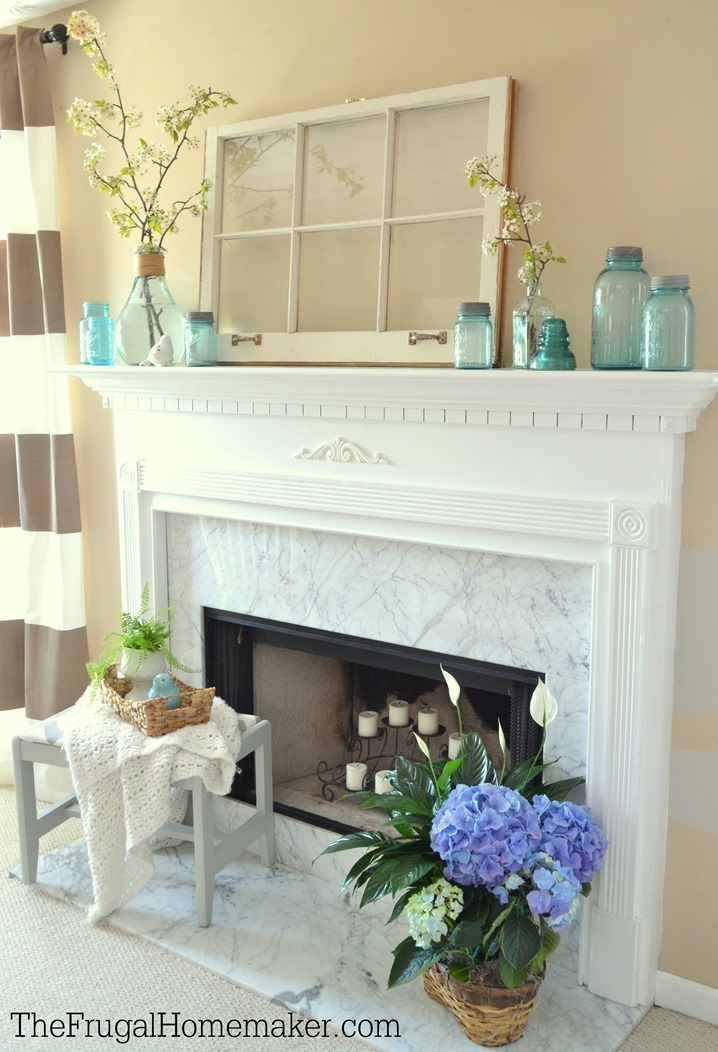 Simple Blue Blooms Spring Mantel Ringing in Spring Home Tour – Simple Mantel Decor