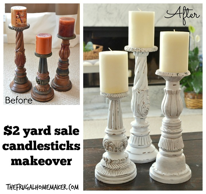 $2.00 yard sale candlesticks makeover