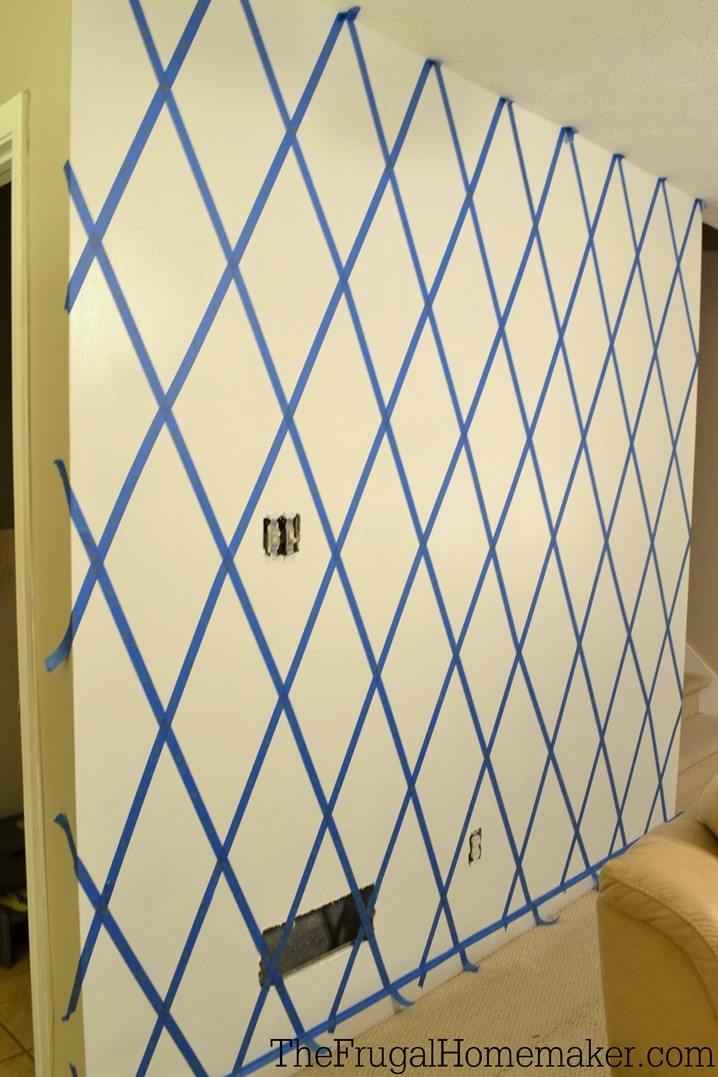 How to paint a diamond accent wall using scotchblue for Wall designs with paint for a bedroom