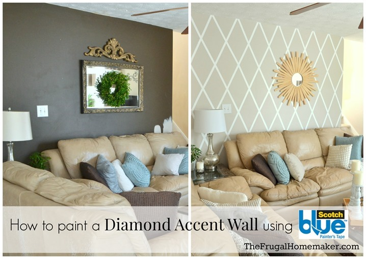 how to paint a diamond accent wall with scotchblue tape thefrugalhomemakercom - Paint Designs On Walls With Tape Ideas