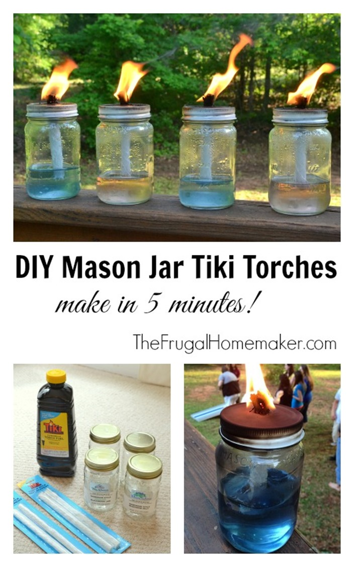 DIY Mason Jar Tiki Torches (5 minute project)