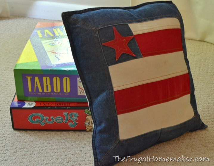 games and flag pillow from thrift store