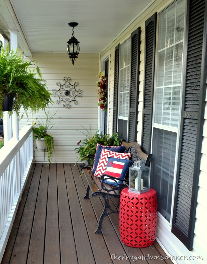 Front porch makeover (decorated for summer in red, white, and blue)