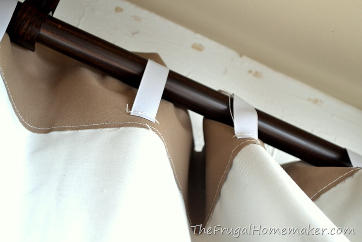 back tabs on curtains made from ribbon