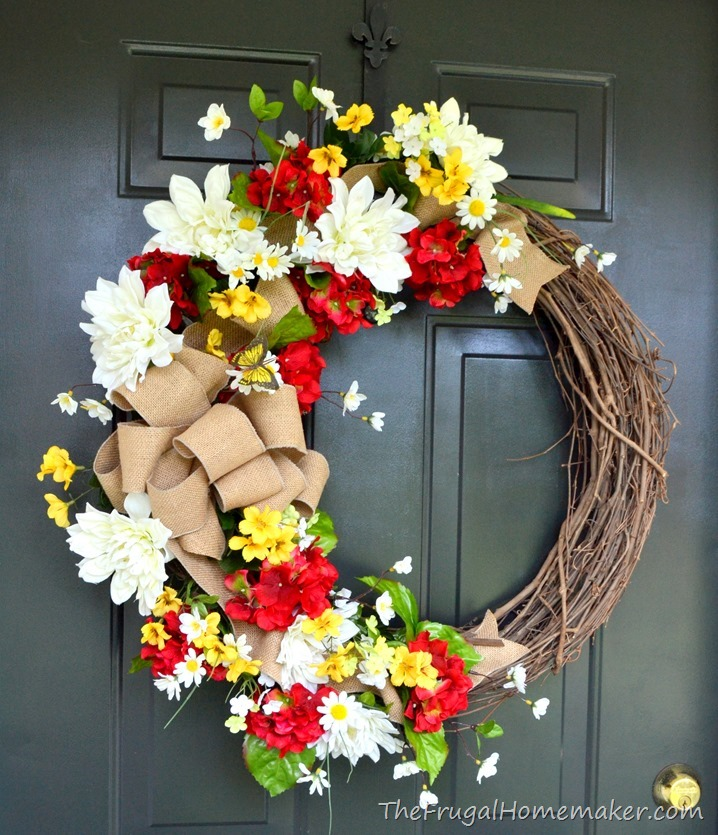 Red and yellow summer wreath