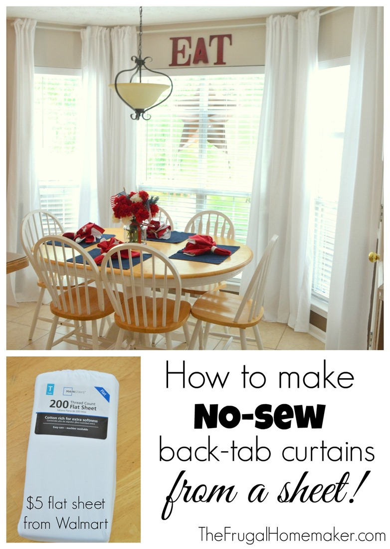 No-sew, inexpensive, long curtains made from SHEETS! on tab top curtains with valance, cheap curtain ideas, kitchen window treatment ideas,