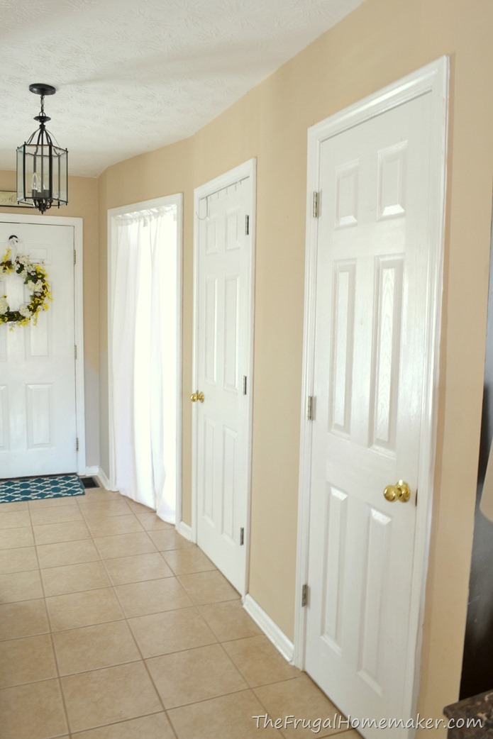 Entryway before and after beige to greige with behr paint for Classic homes reviews